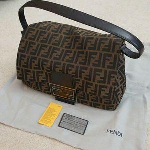 Large Authentic FENDI Flap Handbag+Dust Bag